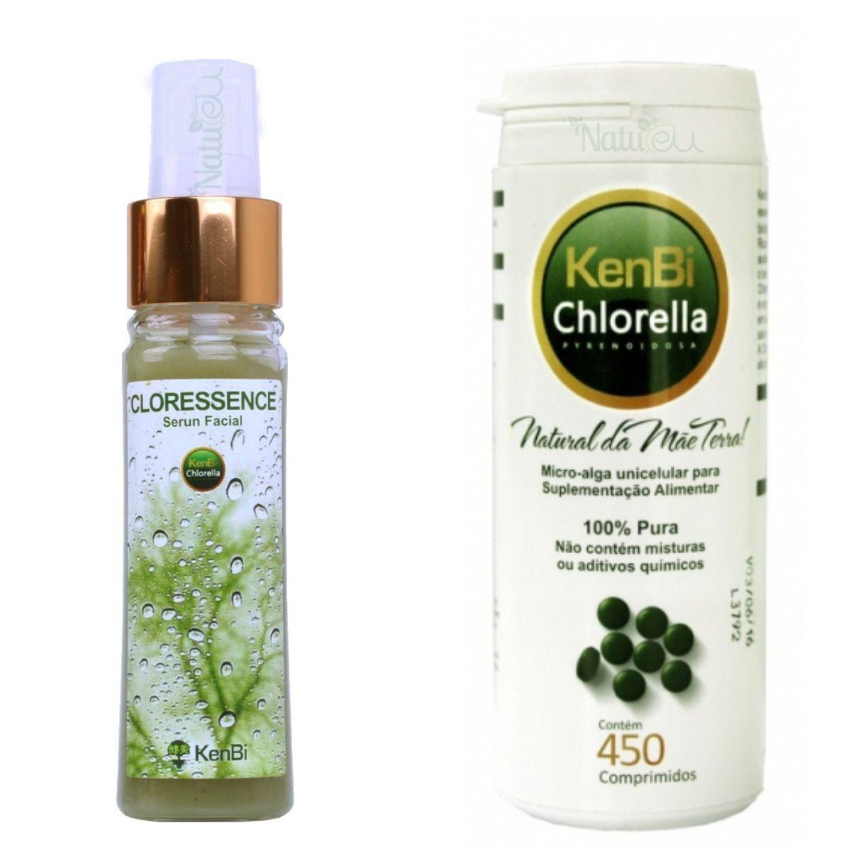 Chlorella Serum Facial - 45 ml Kenbi + Chlorella Kenbi 450 Comp