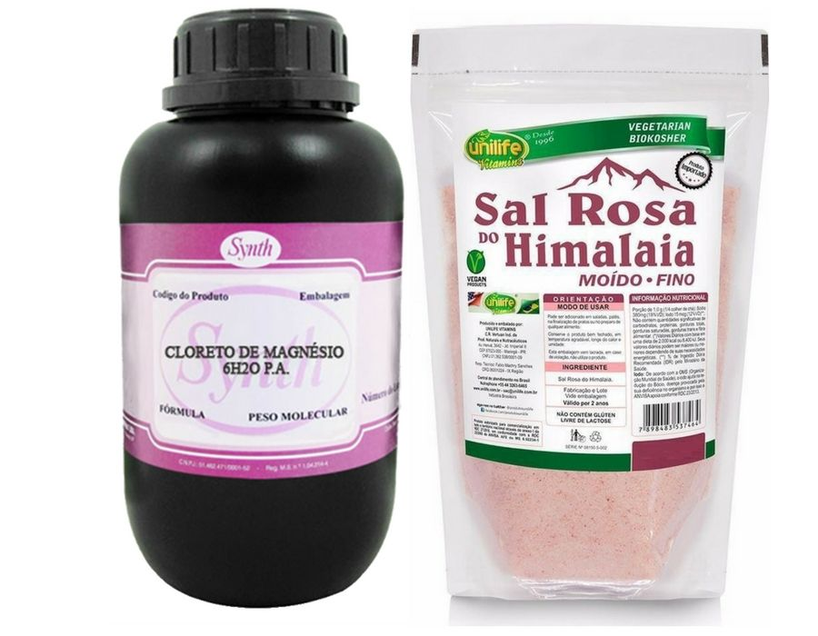 Cloreto De Magnesio Pa 1 Kg + Sal Rosa Do Himalaia 1 Kg