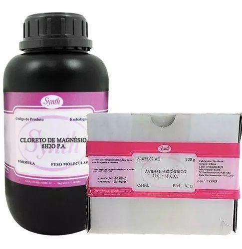 Cloreto de Magnésio Pa 500g + Vitamina C Ácido Ascórbico USP 500g - Synth