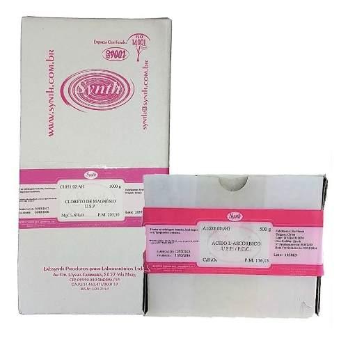 Cloreto De Magnésio Usp 1 Kg + Vitamina C Ácido Ascórbico Usp 500g - Synth