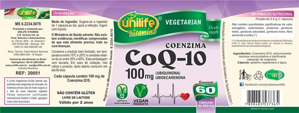 Coenzima Q10 100mg 60 Cápsulas - Unilife