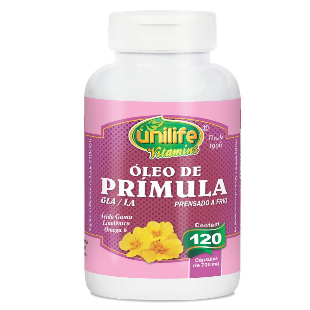 Óleo De Prímula 700mg 120 Cápsulas - Unilife