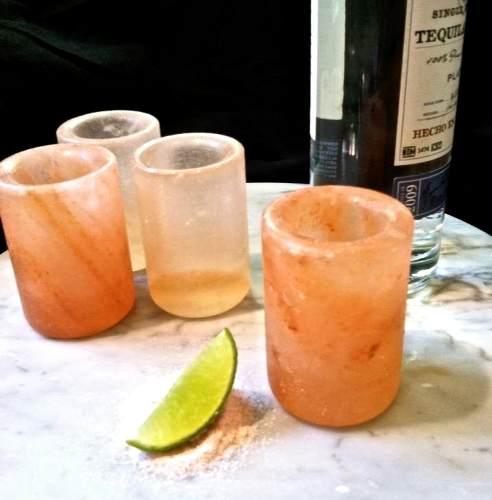 Copo Shot De Pedra De Sal Rosa Para Tequila / Rum