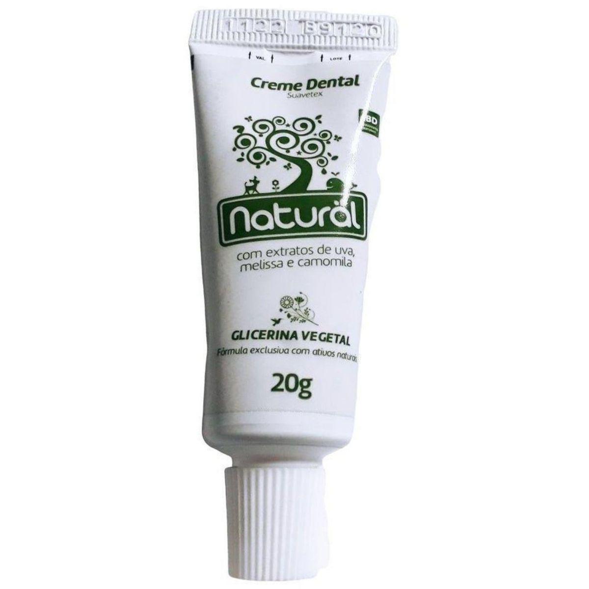 Mini Creme Dental Orgânico Natural 20g Camomila - Suavetex