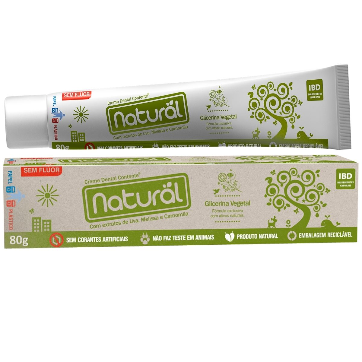 Creme Dental Orgânico Natural Sem Fluor Vegano Camomila 80g - Suavetex