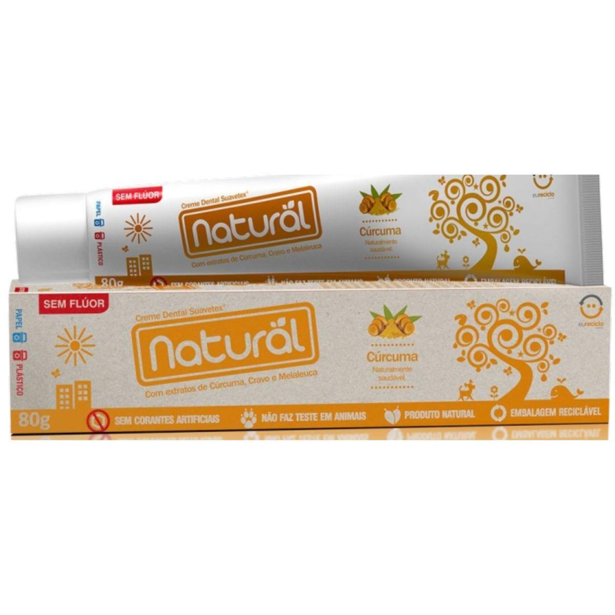 Creme Dental Suavetex Natural C/ Extratos de Curcuma Cravo e Melaleuca 80g - Suavetex