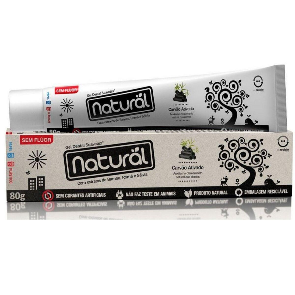 Creme Dental Suavetex Natural Carvão Ativado Extratos de Bambu, Romã e Sálvia 80g  - Suavetex