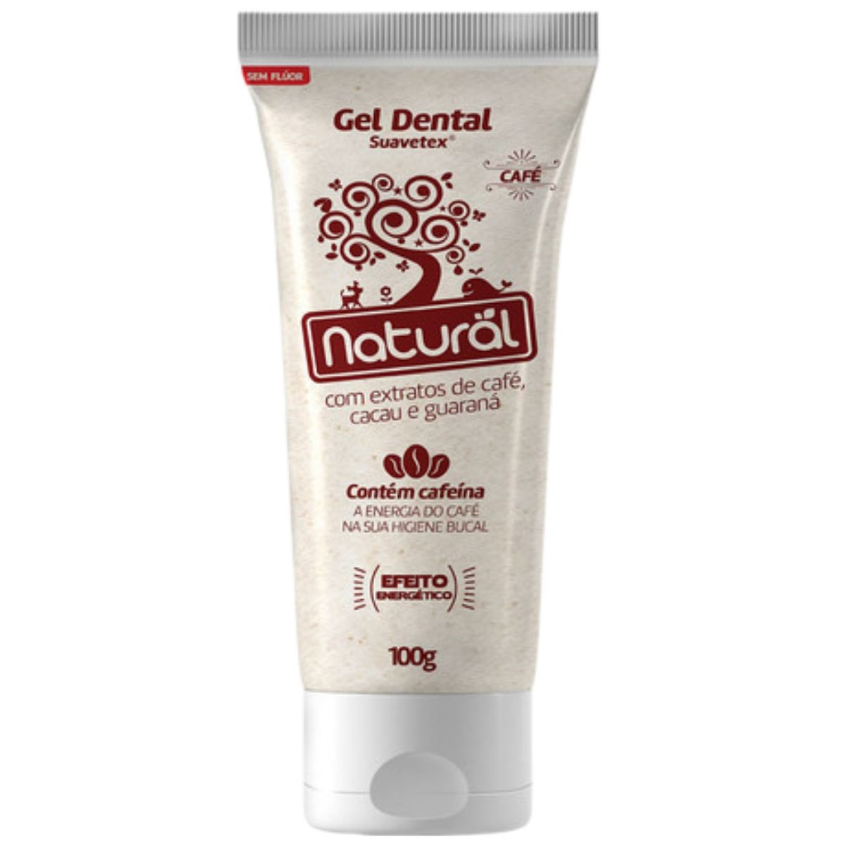 Creme Dental Suavetex Orgânico Natural C/ Extratos de Café, Cacau e Guaraná - 100g