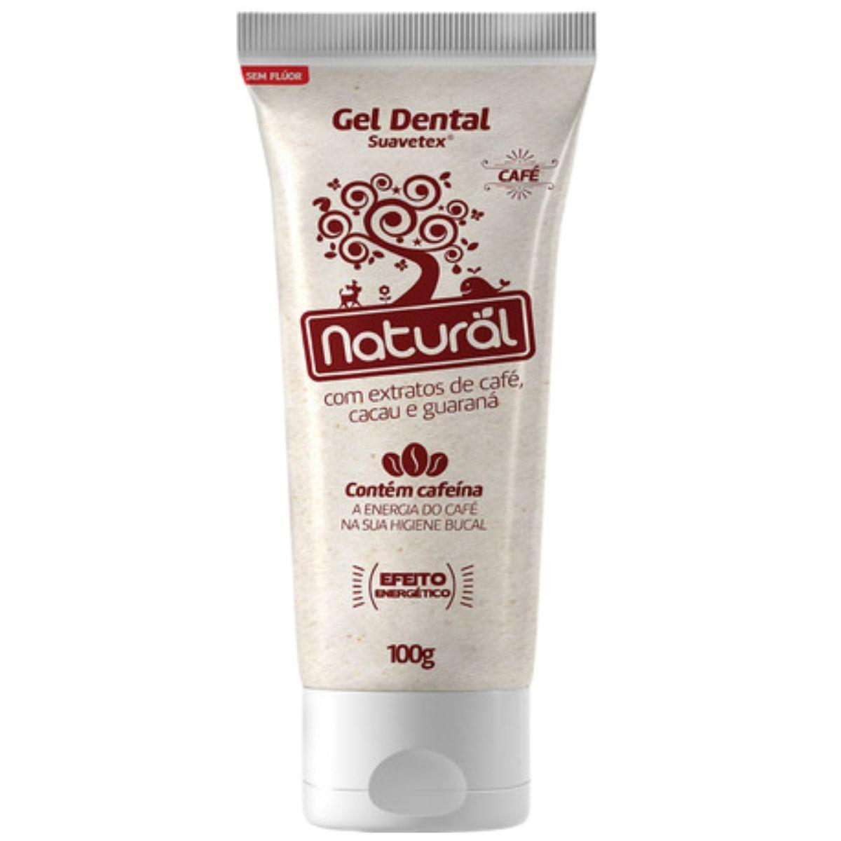Creme Dental Suavetex Orgânico Natural C/ Extratos de Café, Cacau e Guaraná - 100g