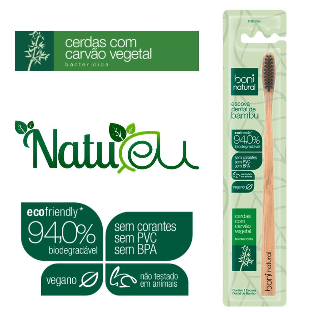 Escova Dental Natural Vegana Bamboo e Cerdas de Carvão Boni