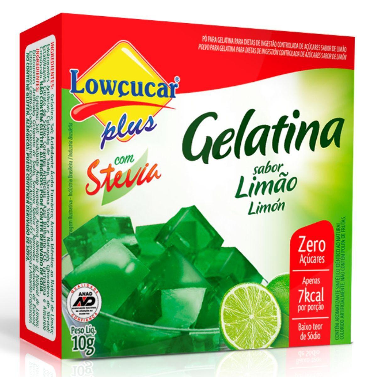 Gelatina Zero Açúcar C/ Stevia 10g Sabor Limão - Lowçucar Plus