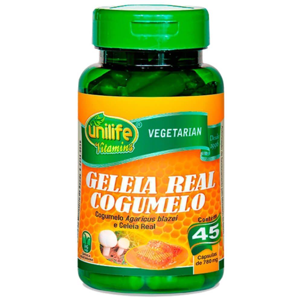 Geleia Real Liofilizada Com Cogumelo Agaricus blazei  45 Cápsulas 780 mg  - Unilife