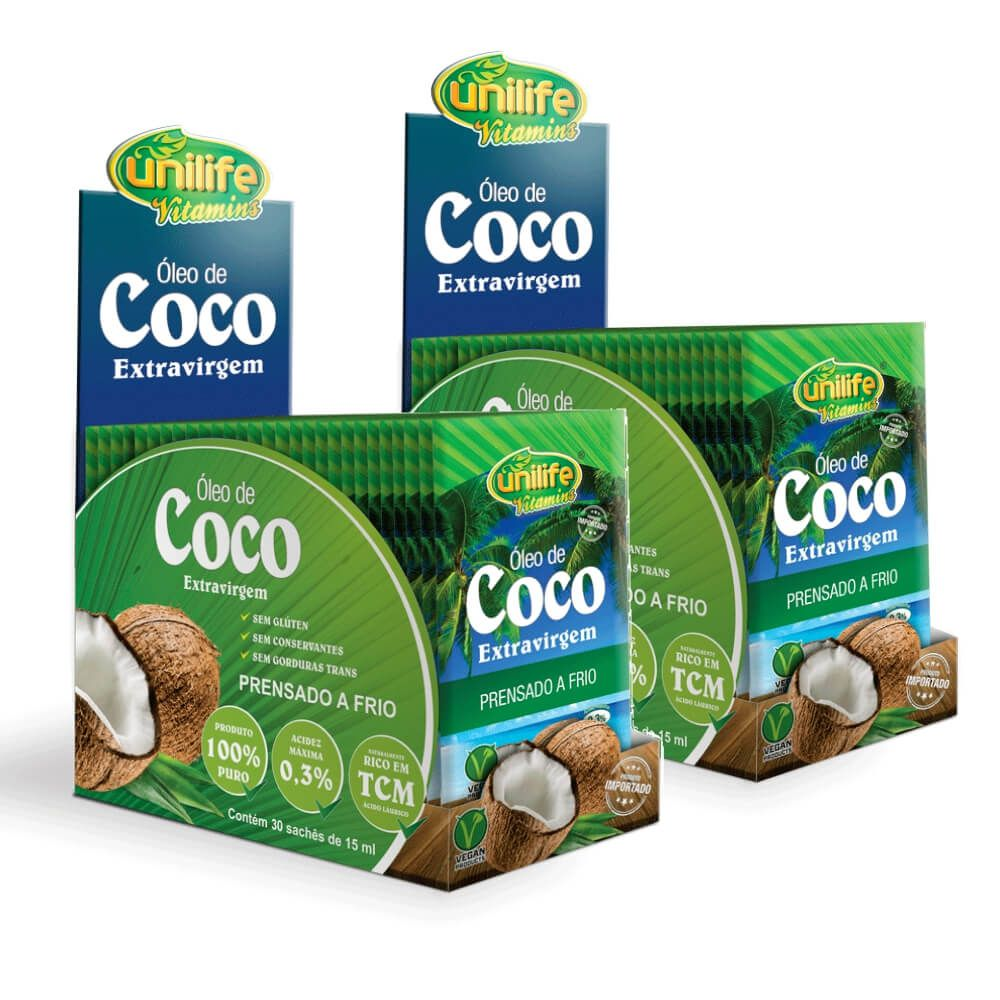 Ki 2 Óleo de Coco Extravirgem Unilife - 30 Sachês de 15 ml