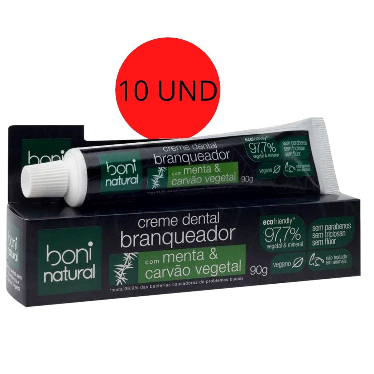 Kit 10 Creme Dental Menta E Carvão Vegetal 90g - Boni Natural