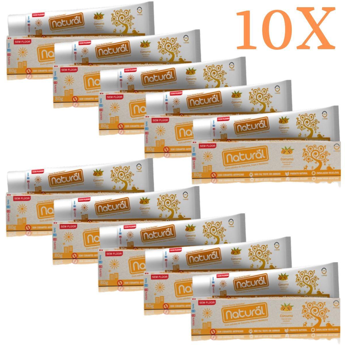 Kit 10 Creme Dental Suavetex Natural C/ Extratos de Curcuma, Cravo e Melaleuca 80g