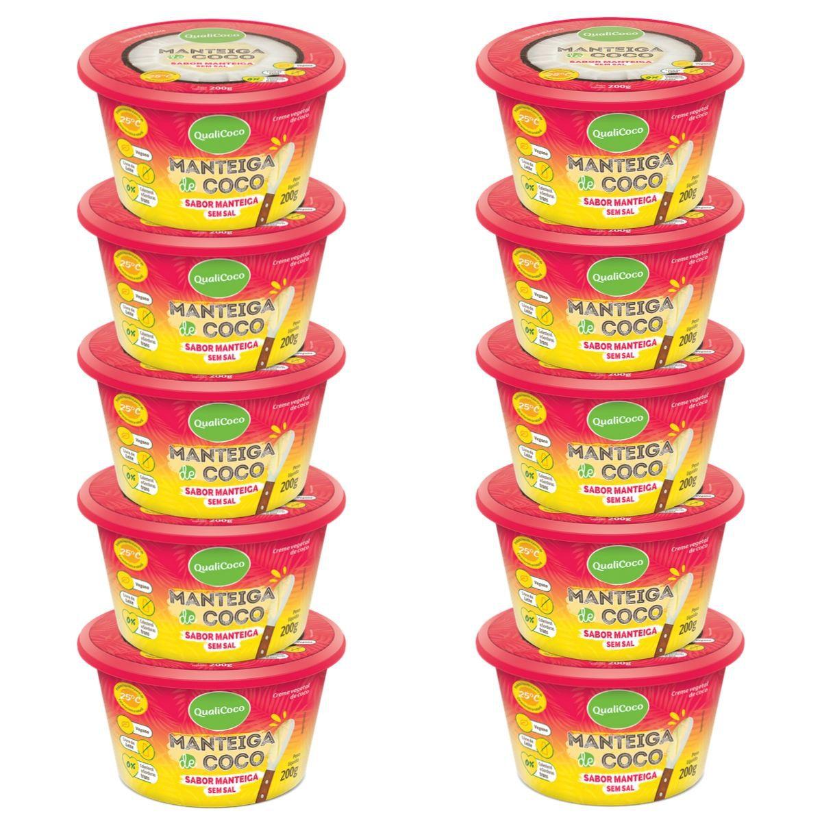 Kit 10 Manteigas De Coco Sem Sal Sabor Manteiga 200g - QualiCôco