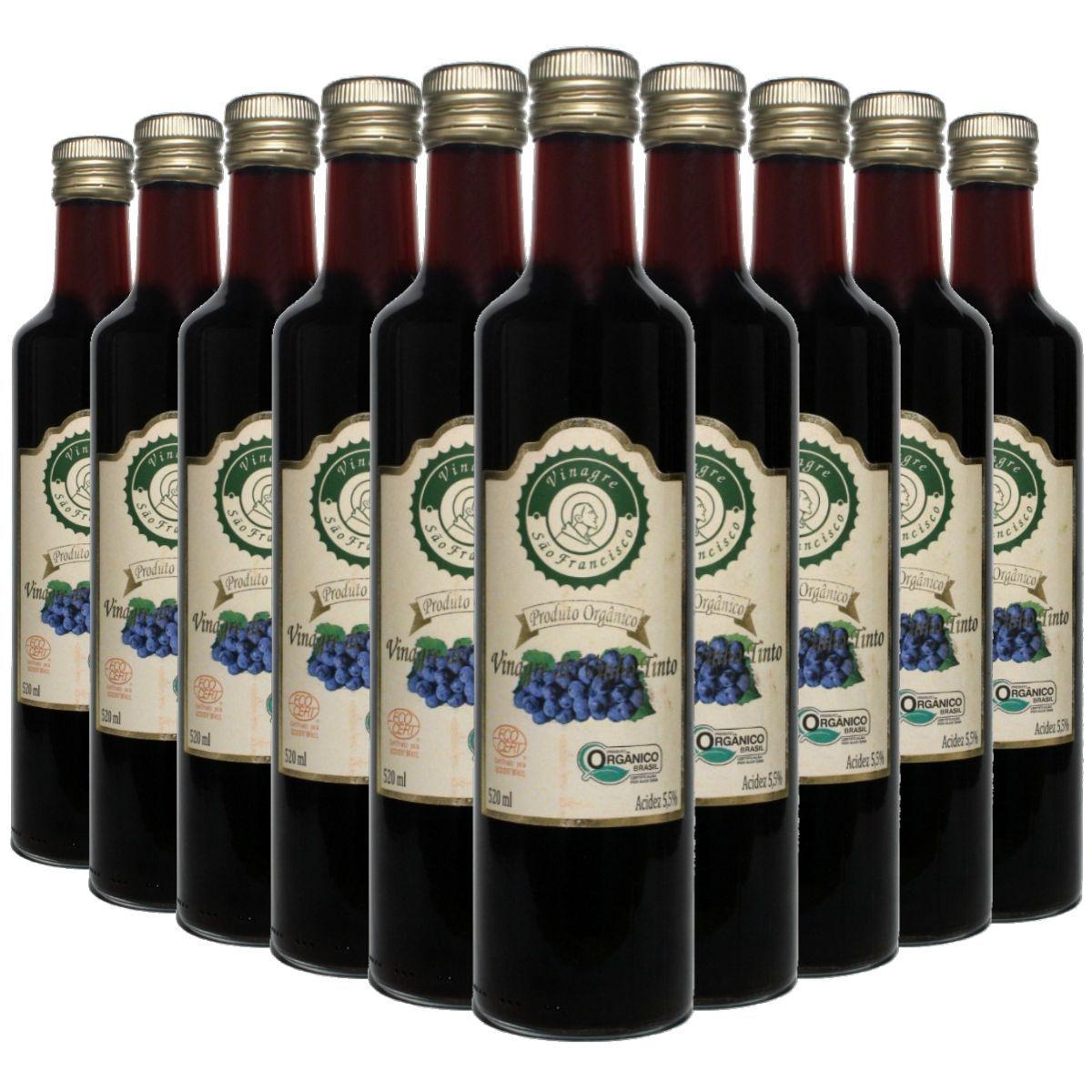 Kit 10 Vinagre Orgânico São Francisco Vinho Tinto Acidez 5,5% - 500ml
