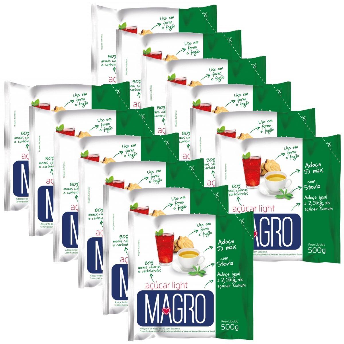 Kit 12 Açúcar Light Magro Com Stevia 500g - Forno e Fogão
