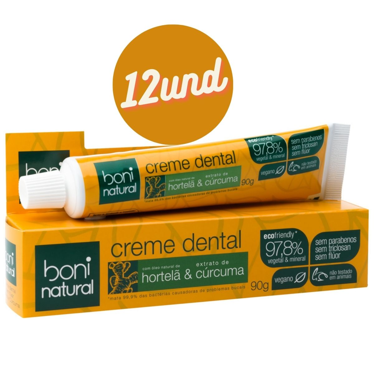 Kit 12 Creme Dental Natural Hortelã e Cúrcuma Sem Flúor 90g - Boni Natural