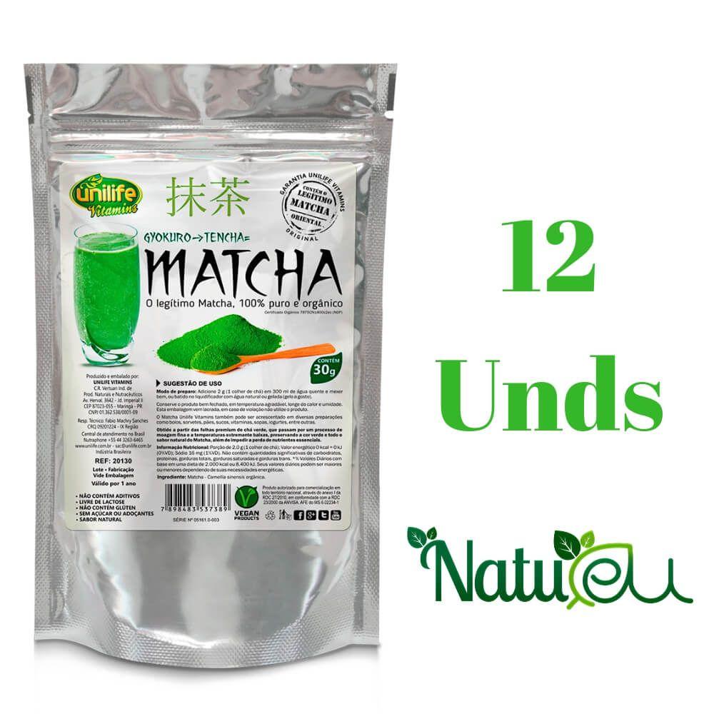 Kit 12 Matcha Instantâneo 100% Puro Unilife - 30g