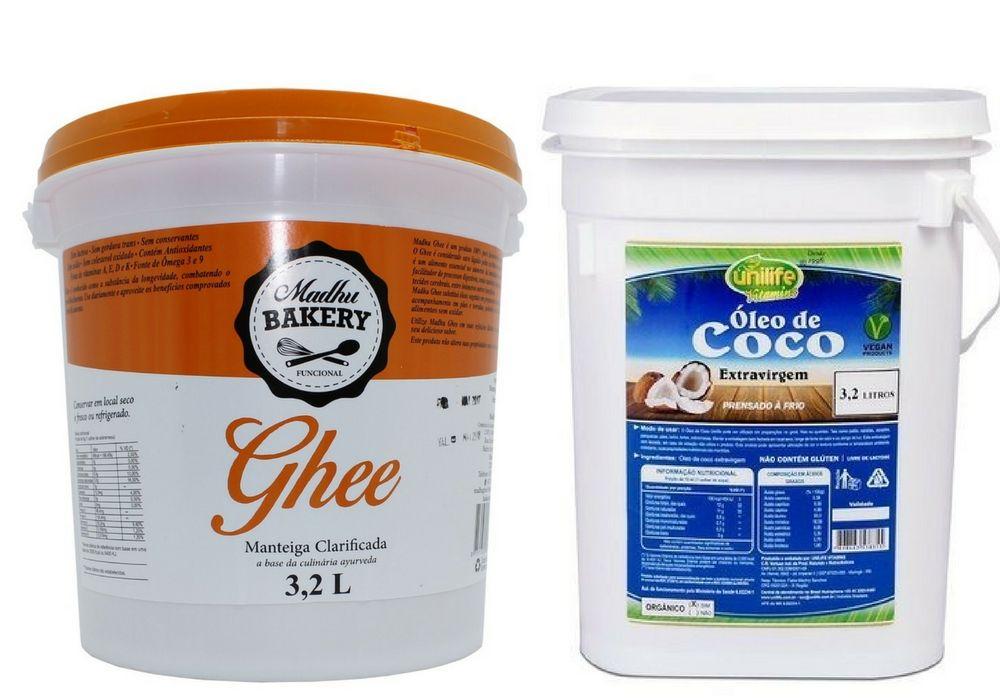 Kit 1 Balde Manteiga Ghee 3,2L Madhu Bakery Origina + 1 Balde Oleo  De Coco Extra Virgem 3,2L