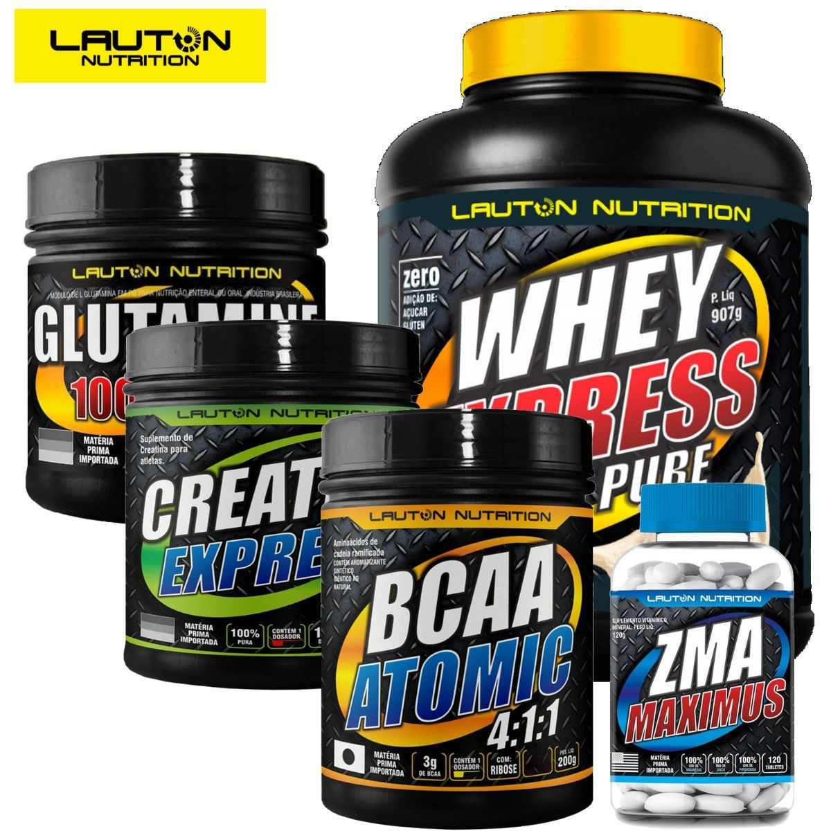 Kit 1 Whey Protein 907g + 1 Creatina 100g + 1 BCAA  200g + 1 ZMA 120 Tabs + 1 Glutamina 150g- Lauton Nutrition