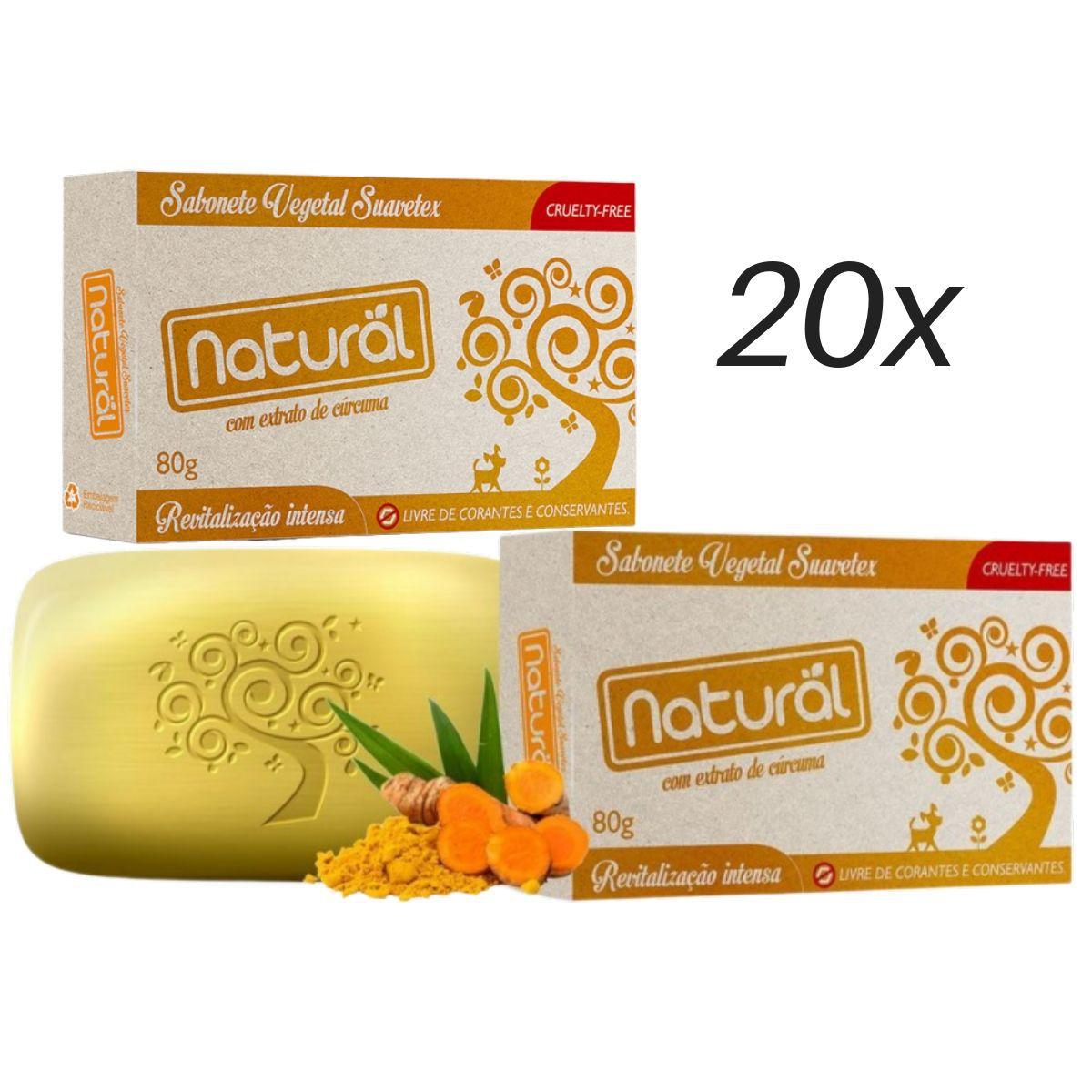 Kit 20 Sabonete Suavetex Natural Com Extrato De Cúrcuma 80g