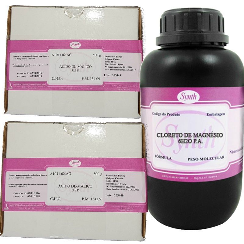 Kit 2 Acido Malico Usp  500g Synth + 1 Kg Cloreto de Magnésio Pa Synth