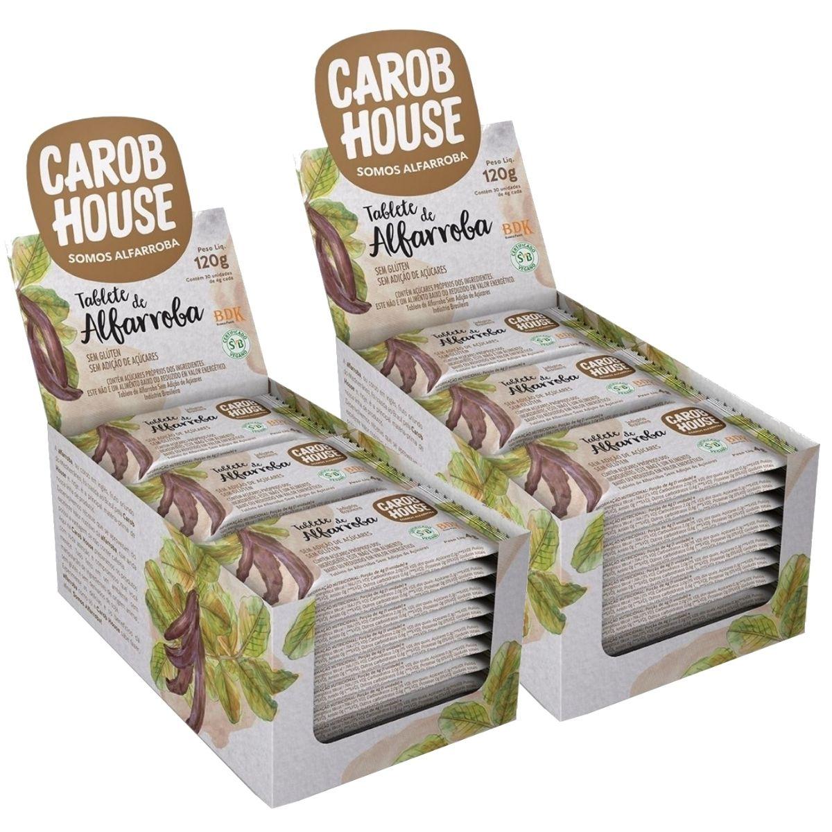 Kit 2 Alfarroba Em Tablete 4g Caixa C/ 30 Barras - Carob House