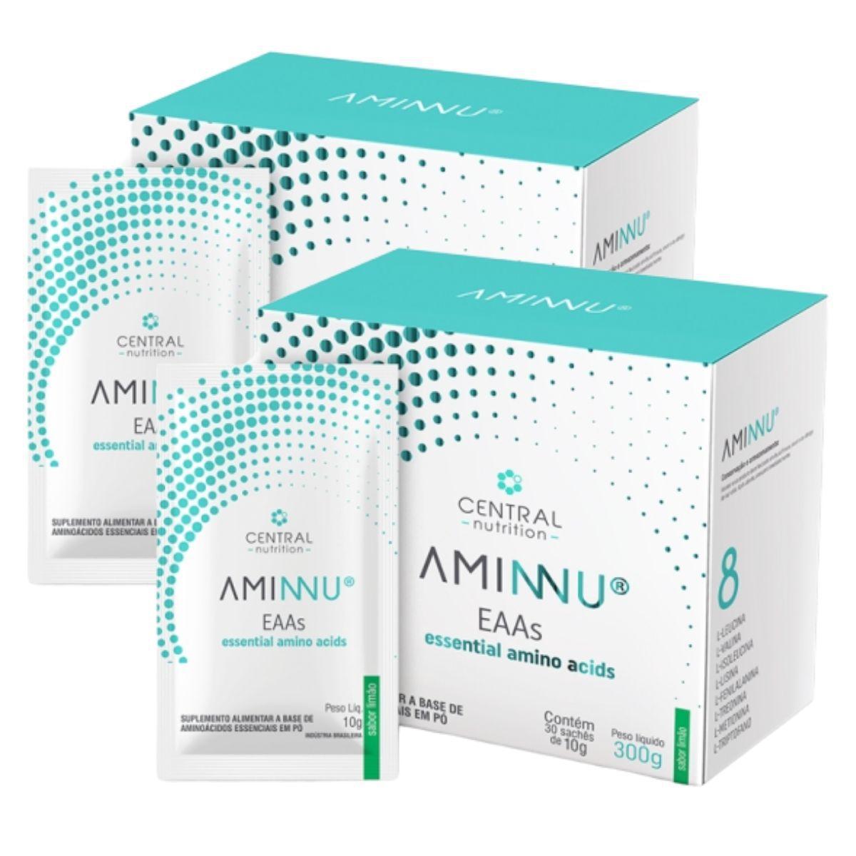 Kit 2 Aminnu Limão 10G 30 Sachês EAAs - A Base De Aminoácidos Essenciais - Central Nutrition