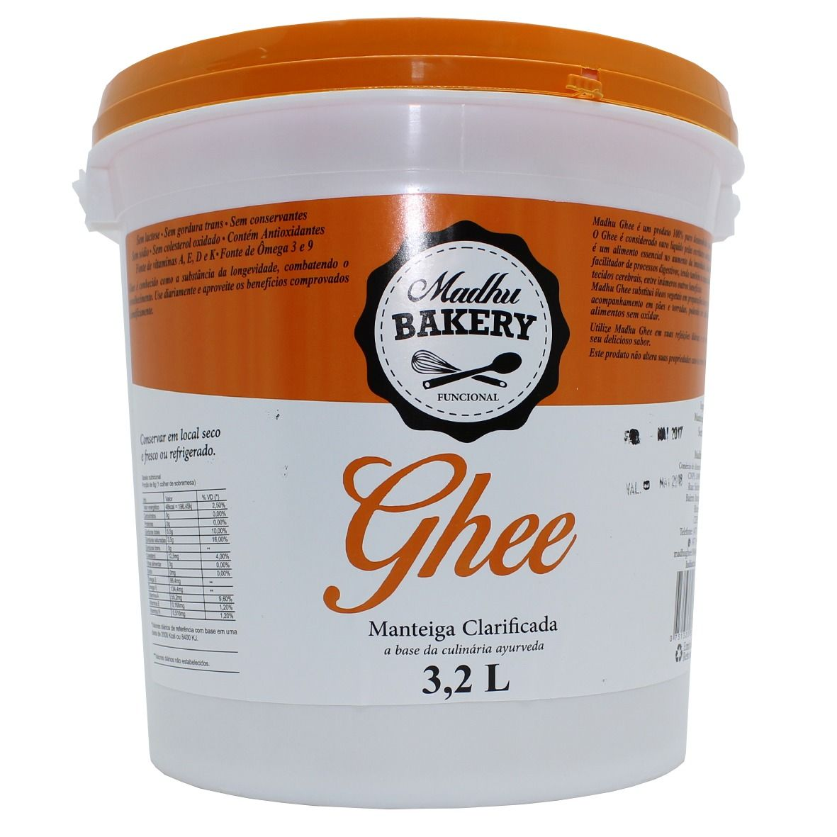 Kit 2 Baldes Manteiga Ghee 3,2L Cada - Madhu Bakery original