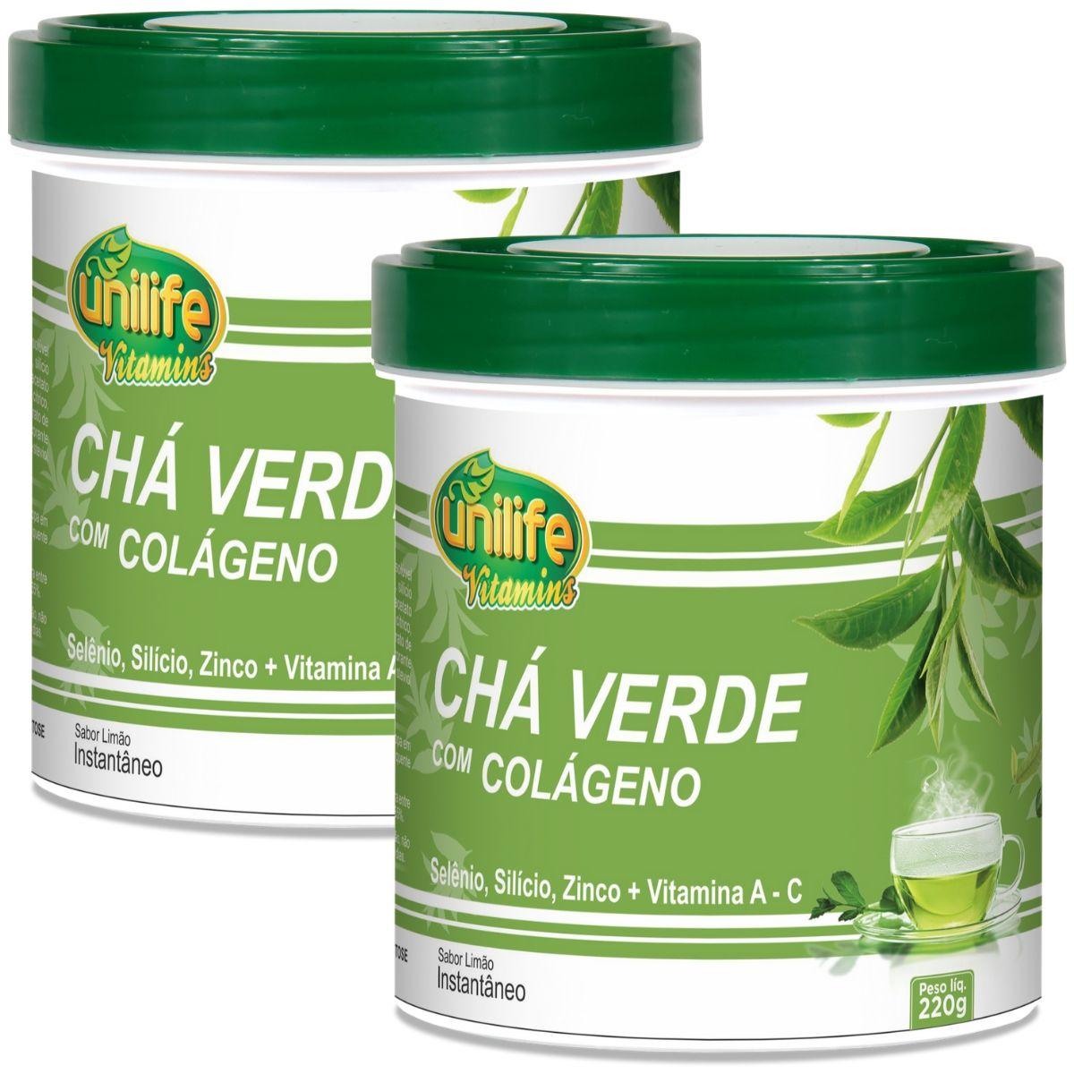 Kit 2 Chá Verde C/ Colágeno E Stévia 220g - Unilife