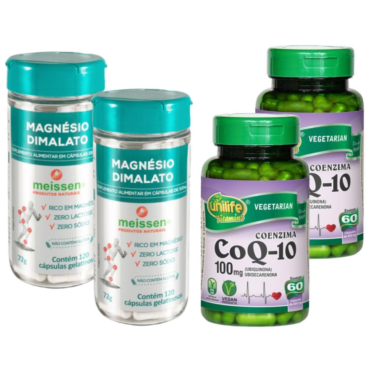 Kit 2 Coenzima Q10 100 Mg 60 Cápsulas + Magnésio Dimalato 60 Cápsulas Meissen