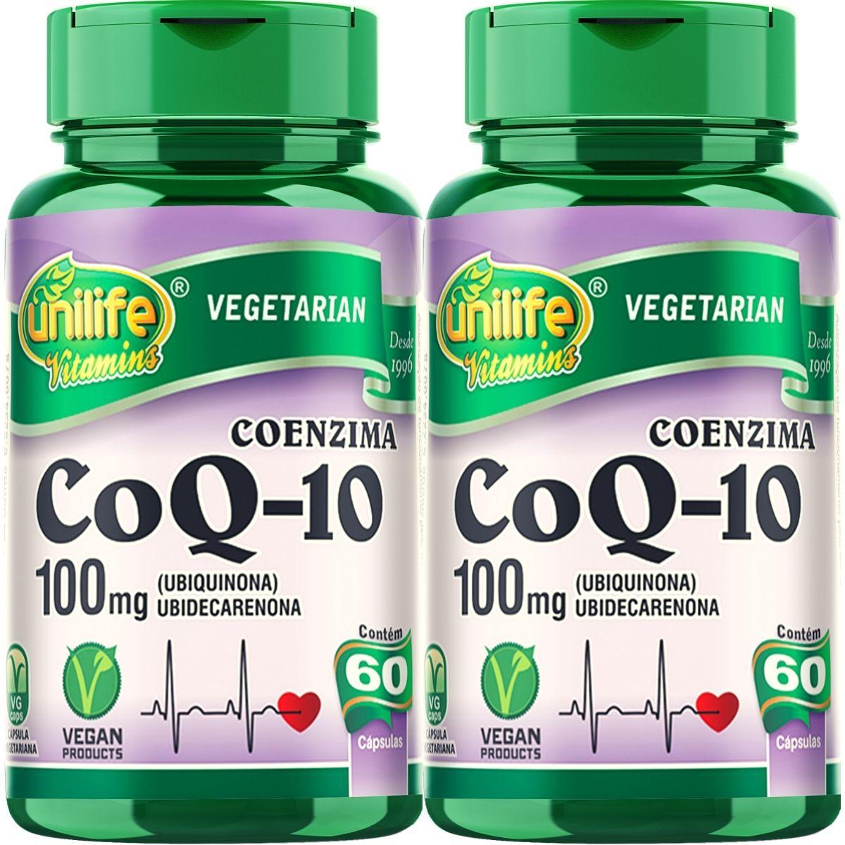 Kit 2 Coenzima Q10 100mg 60 Cápsulas - Unilife