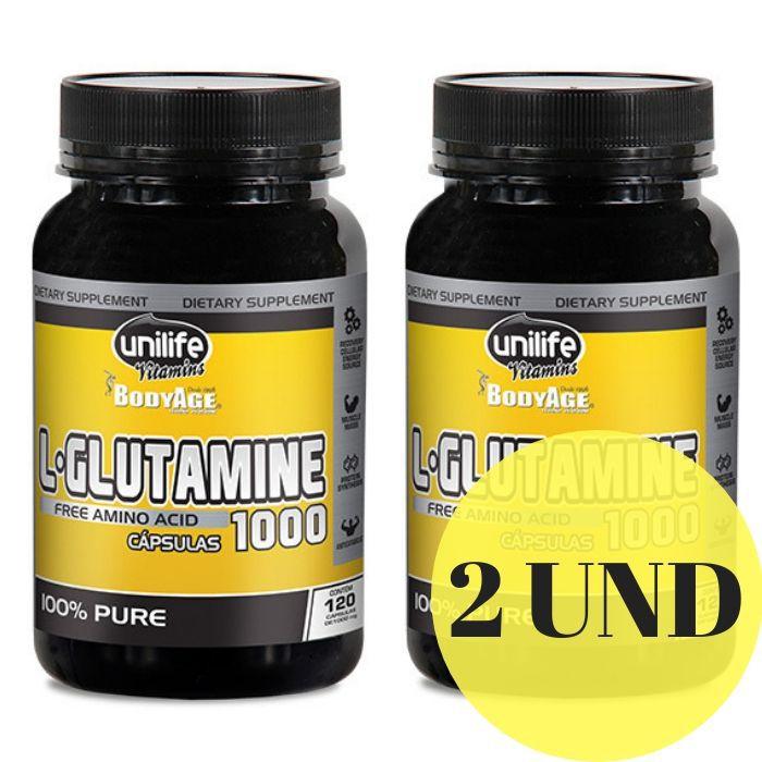 Kit 2 L-Glutamina 100% Pura 120 Cápsulas 1000mg - Unilife