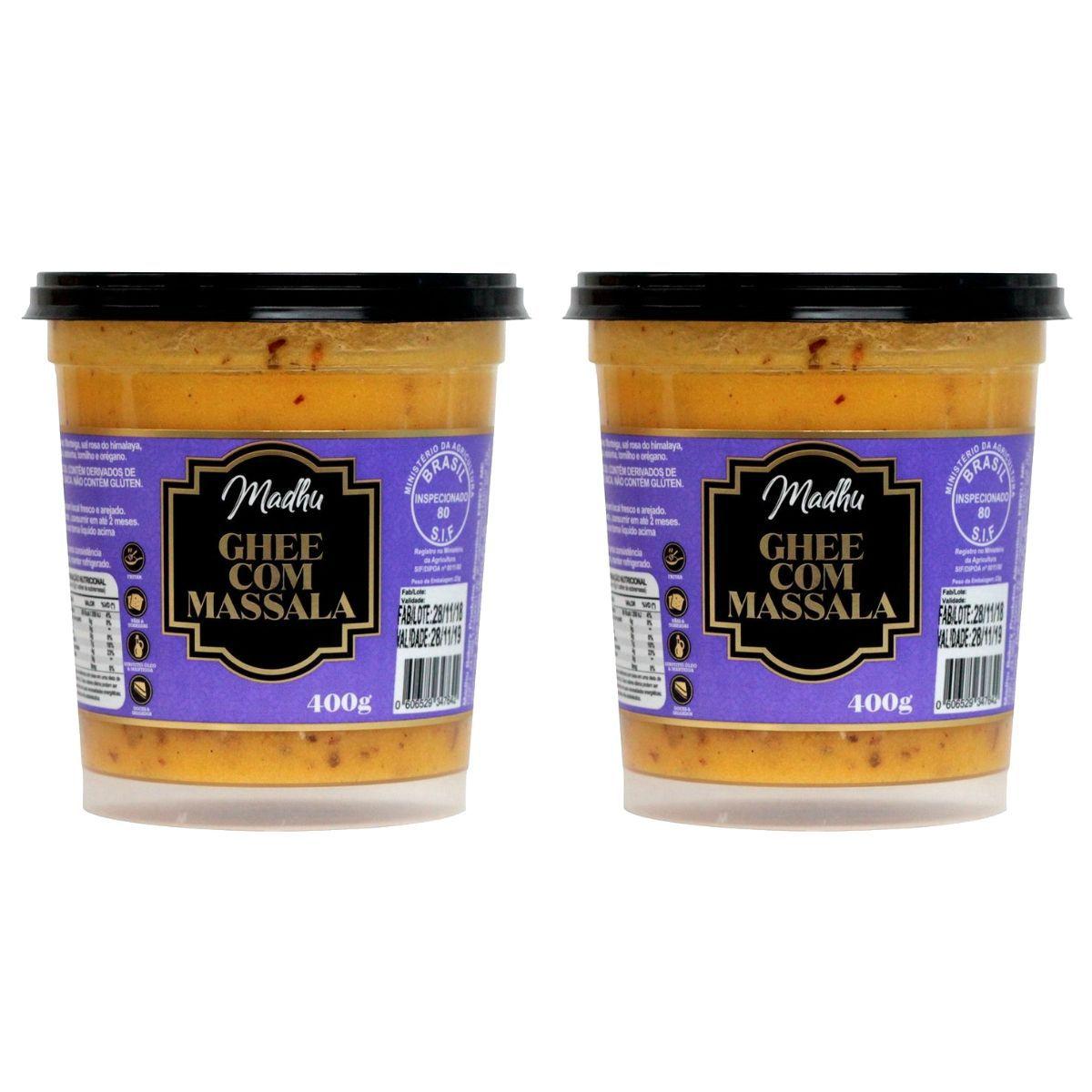 Kit 2 Manteiga Ghee C/ Massala Clarificada 400mg - Madhu Bakery