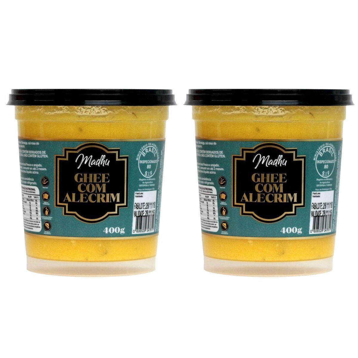 Kit 2 Manteigas Ghee 400g Clarificada C/ Alecrim Zero Lactose - Madhu