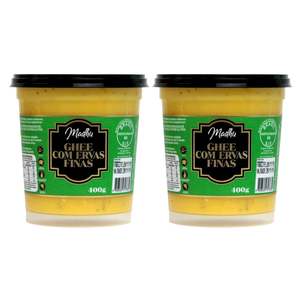 Kit 2 Manteigas Ghee 400g Clarificada C/ Ervas Finas Zero Lactose - Madhu
