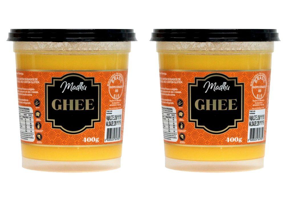 Kit 2 Manteigas Ghee 400g Tradicional Clarificada Zero Lactose - Madhu