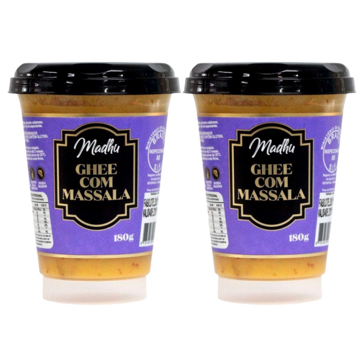 Kit 2 Manteigas Ghee C/ Massala Clarificada 180g - Madhu Bakery
