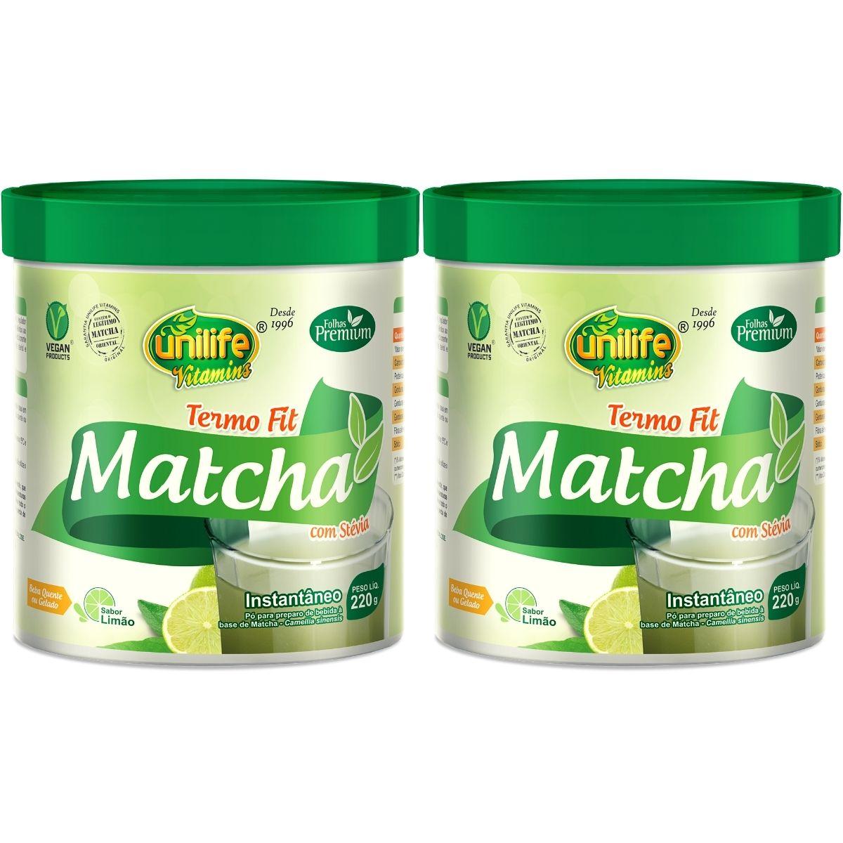 Kit 2 Matcha Instantâneo C/ Stévia Termo Fit Unilife - 220g Sabor: Limão