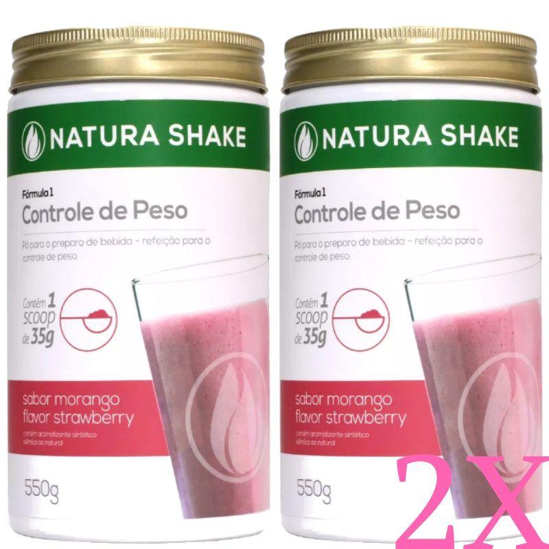 Kit 2 Natura Shake Sabor Morango 550g - Ideal Para Dieta