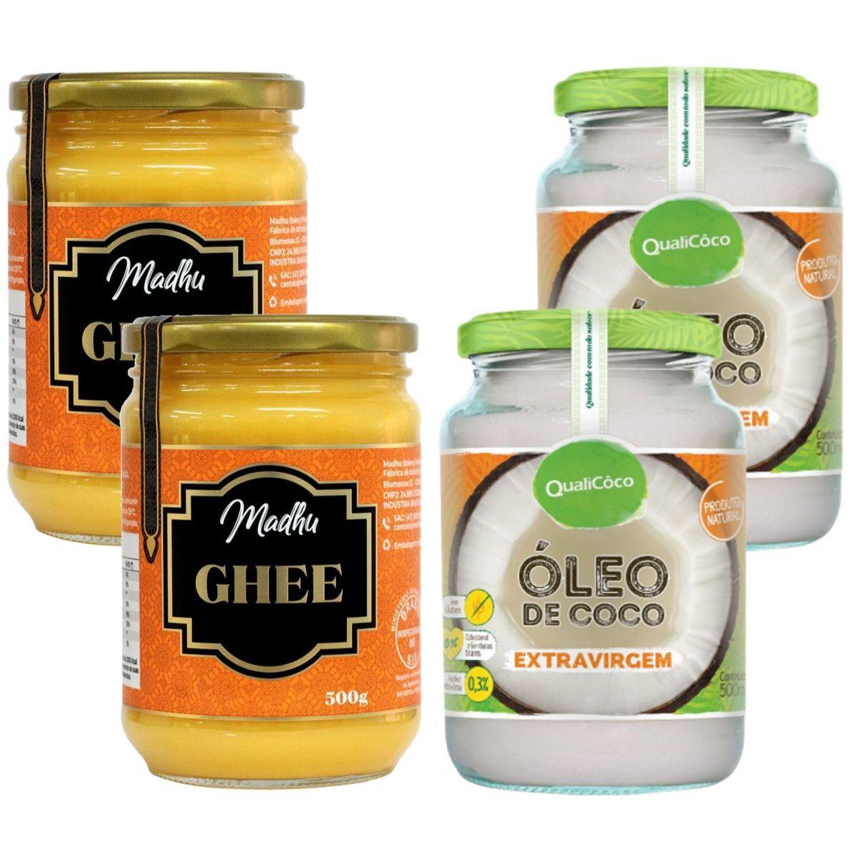 Kit 2 Oleo De Coco Extra Virgem 500ml + 2 Manteiga Ghee Clarificada 500ml