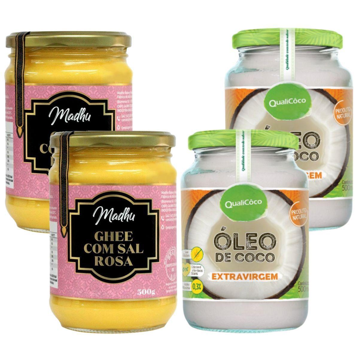 Kit 2 Oleo De Coco Extra Virgem 500ml + 2 Manteiga Ghee Clarificada C/ Sal Rosa do Himalaia 500ml