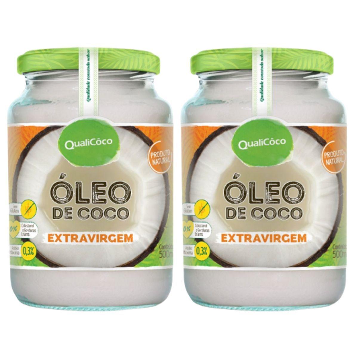Kit 2 Óleo De Coco Extra Virgem Prensado A Frio Puro 500ml - QualiCôco