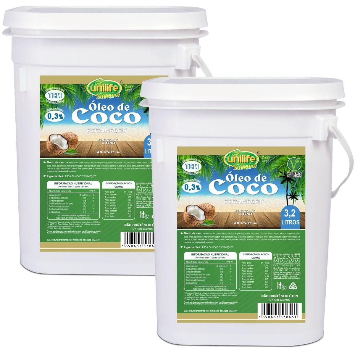 Kit 2 Óleo de Coco Extra Virgem Puro 3,2 Litros 100% Natural - Unilife