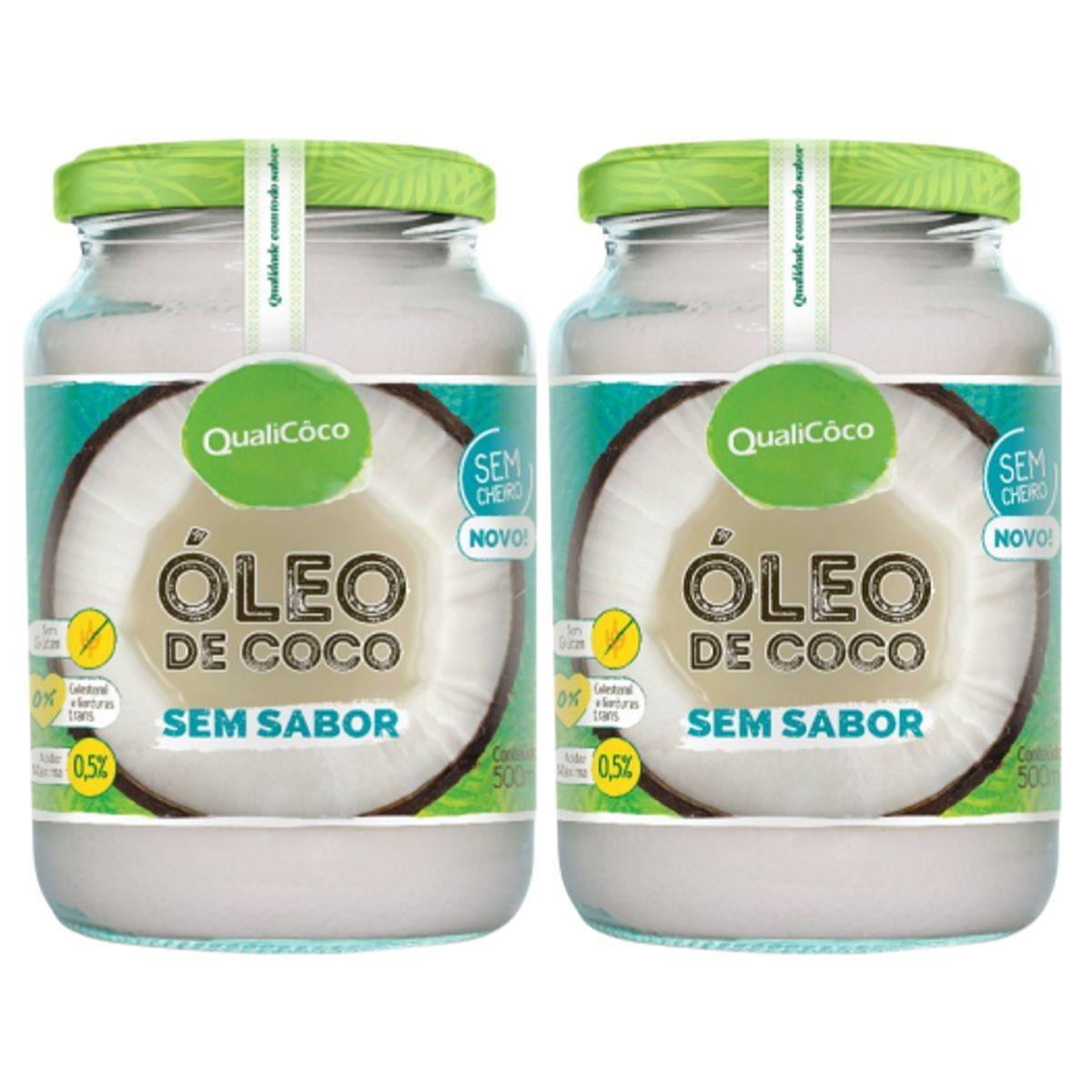 Kit 2 Óleo De Coco Sem Sabor E Sem Cheiro Prensado A Frio 500ml - QualiCôco