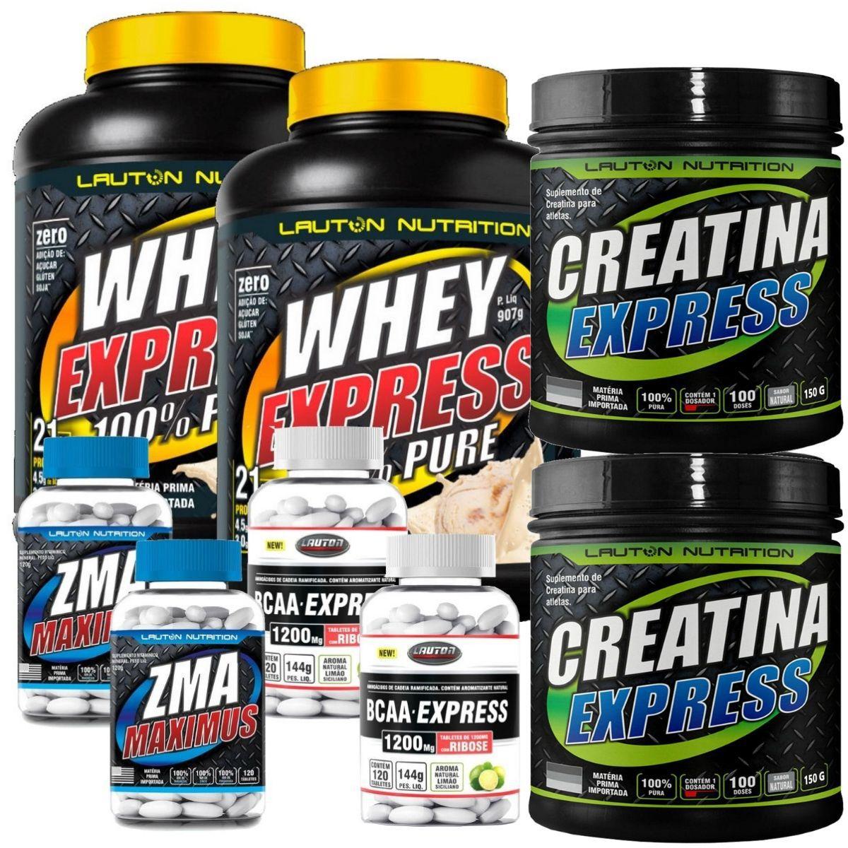Kit 2 Whey Protein 900g + 2 Creatina 100g + 2 BCAA 120 Tabs + 2 ZMA 120 Tabletes - Lauton Nutrition