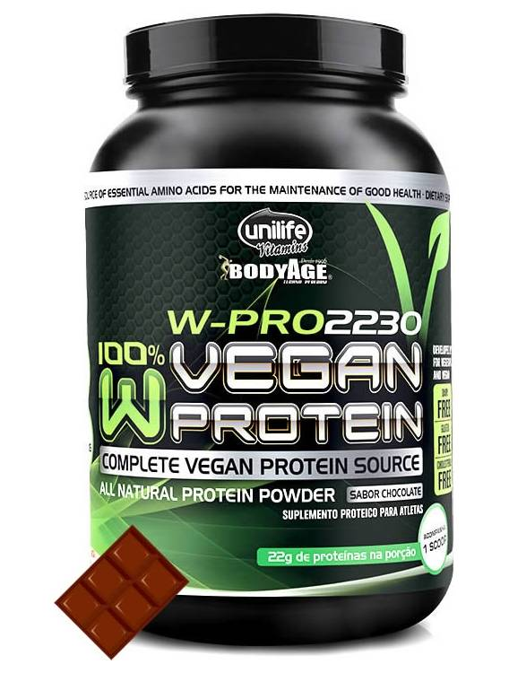 Kit 2 Whey Vegan Protein W-pro 100% Natural Sabor Chocolate 900gr Unilife