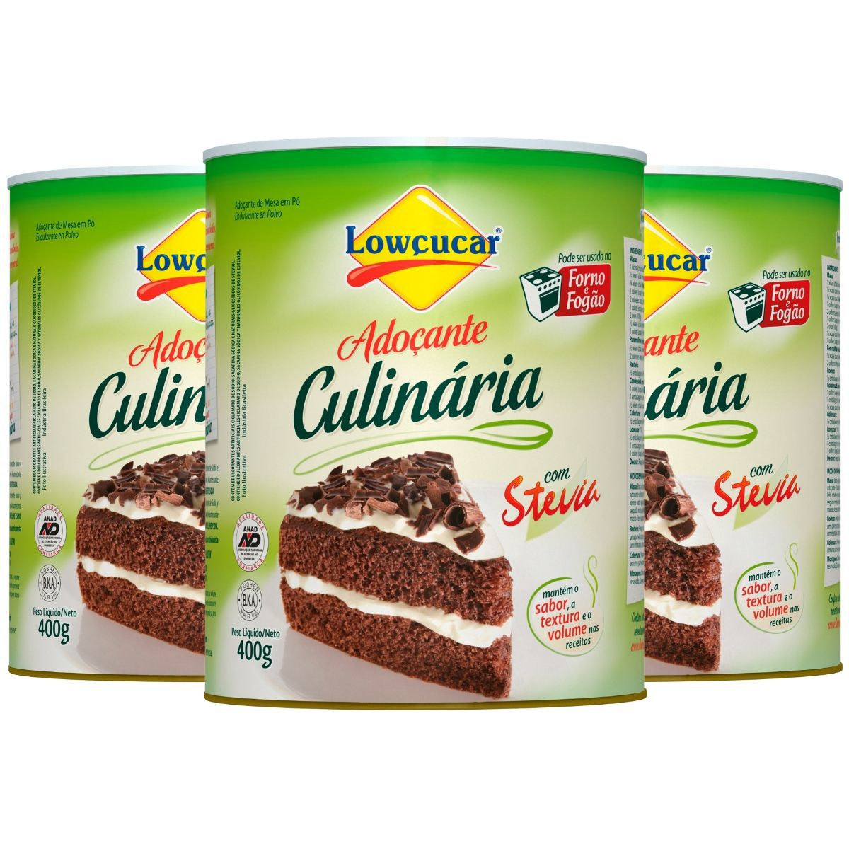 Kit 3 Adoçantes Culinária Forno E fogão C/ Stevia 400g - Lowçucar Plus